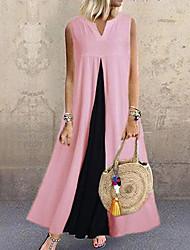 cheap -Women's Plus Size Maxi Swing Dress - Color Block Black White Yellow S M L XL