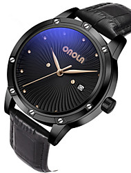 cheap -Men's Dress Watch Quartz Stylish Genuine Leather Black 30 m Water Resistant / Waterproof New Design Large Dial Analog Fashion - Black Gold Two Years Battery Life