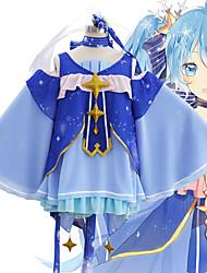 cheap -Inspired by Vocaloid Snow Miku 2018 Anime Cosplay Costumes Japanese Cosplay Suits 1 Hair Jewelry Dress Pants For Women's / Gloves / Neckwear / Chiffon / Gloves / Neckwear