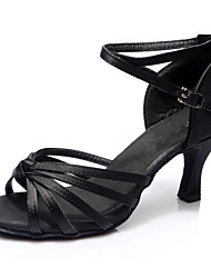 cheap -Women's Dance Shoes Satin Latin Shoes Heel Slim High Heel Customizable Black / Performance