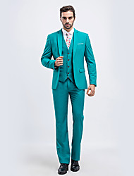 cheap -Jade Solid Colored Standard Fit Polyester Suit - Notch Single Breasted One-button / Suits
