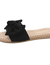 cheap -Women's Slippers & Flip-Flops Flat Heel Bowknot PU Casual Summer Black / Brown / Pink
