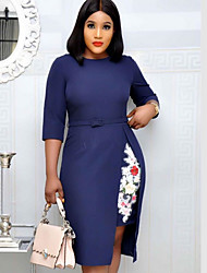cheap -Women's Shift Dress 3/4 Length Sleeve Color Block Blushing Pink Navy Blue M L XL XXL