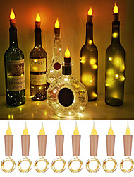 cheap -LOENDE Flame Cork Shaped Lights 10 Pack Firefly Craft Bottle Lights Battery Operated Candle Lights for Wine Bottles