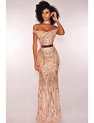 cheap -Women's Basic Maxi Trumpet / Mermaid Dress - Animal Print Off Shoulder Black Gold M L