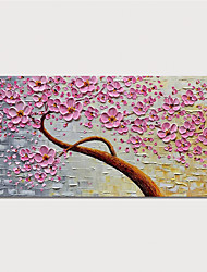 cheap -Oil Painting Hand Painted Floral / Botanical Modern Stretched Canvas With Stretched Frame