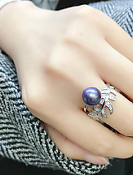 cheap -Women's Open Ring Adjustable Ring Freshwater Pearl 1pc Dark Blue Pearl S925 Sterling Silver Circular Luxury Classic Elegant Wedding Party Jewelry Leaf