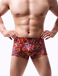 cheap -Men's Print Boxers Underwear - EU / US Size 1 Piece Low Waist Black Wine Light Blue S M L