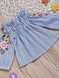 cheap -Kids Girls' Basic Striped Long Sleeve Cotton Shirt Light Blue