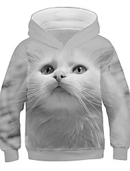 cheap -Kids Girls' Active Street chic Cat Print 3D Animal Print Long Sleeve Hoodie & Sweatshirt Gray