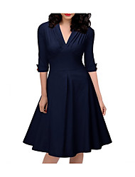 cheap -Women's Green Navy Blue Dress Basic A Line Solid Colored Deep V S M