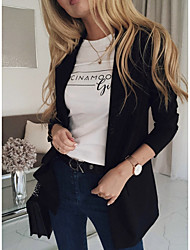 cheap -Women's Blazer, Solid Colored Notch Lapel Polyester Blushing Pink / Black / Beige