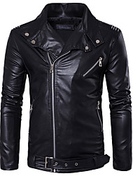 cheap -Men's Daily Basic Regular Leather Jacket, Solid Colored Shirt Collar Long Sleeve PU White / Black / Red