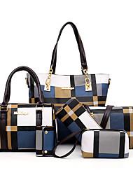 cheap -Women's Zipper PU Bag Set Color Block 6 Pieces Purse Set Black / Brown / Blue