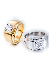 Недорогие -Муж. Кольцо 1шт Золотой Серебряный Титановая сталь Круглый Винтаж Классический Мода Повседневные Бижутерия