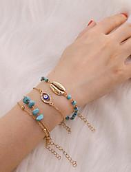 cheap -4pcs Women's Bracelet Classic Eyes Precious Shell Luxury Classic Trendy Stone Bracelet Jewelry Gold For Gift Daily School Holiday Work