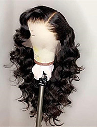 cheap -Remy Human Hair Lace Front Wig style Brazilian Hair Body Wave Black Wig 130% Density Women's Medium Length Human Hair Lace Wig beikashang