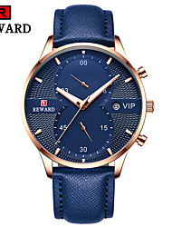 cheap -Men's Dress Watch Quartz Formal Style Modern Style Genuine Leather Black / Blue / Brown 30 m Calendar / date / day Chronograph Creative Analog Classic Casual - Black Gold Blue