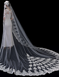 cheap -One-tier Lace Applique Edge / Elegant & Luxurious Wedding Veil Cathedral Veils with Appliques 118.11 in (300cm) Lace / Tulle / Oval