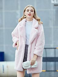 Недорогие -Жен. Для вечеринок Уличный стиль / Изысканный Наступила зима Длинная Искусственное меховое пальто, Однотонный Отложной / Европейский воротничок Длинный рукав Искусственный мех Розовый / Хаки / Белый