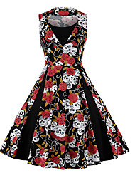 cheap -Vintage Inspired Dress Women's Spandex Costume White+Blue / Red+Black / Red / White Vintage Cosplay 3/4-Length Sleeve