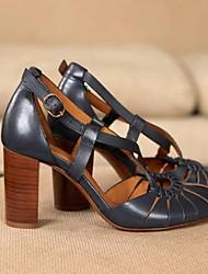 cheap -Women's Sandals Chunky Heel Round Toe PU Summer Brown / Blue