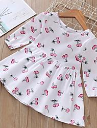 cheap -Kids Girls' Basic Fruit Long Sleeve Knee-length Dress White