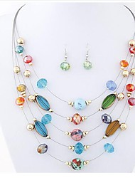 cheap -Women's Synthetic Amethyst Drop Earrings Necklace Stylish Boho Earrings Jewelry Transparent / Green / Blue For Daily 1 set