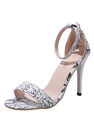 cheap -Women's Sandals Stiletto Heel Peep Toe PU Summer Black / White