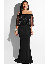 cheap -Women's Maxi Black Dress Cocktail Party Prom Bodycon Solid Colored Off Shoulder S M