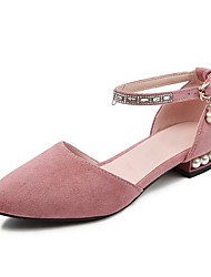 cheap -Women's Flats Chunky Heel Closed Toe Rhinestone / Imitation Pearl / Buckle Faux Leather Sweet / Minimalism Walking Shoes Spring &  Fall / Spring & Summer Black / Pink
