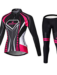 cheap -Malciklo Women's Long Sleeve Cycling Jersey with Tights Winter Fleece Coolmax® Elastane Purple Black / Pink Orange Geometic British Plus Size Bike Tights Clothing Suit Breathable 3D Pad Quick Dry