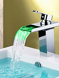 cheap -Bathroom Sink Faucet - Waterfall / Color-Changing Chrome Vessel Single Handle One HoleBath Taps / Brass