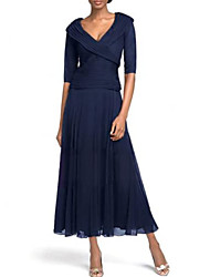 cheap -A-Line Plunging Neck Ankle Length Chiffon Half Sleeve Plus Size Mother of the Bride Dress with Ruching 2020