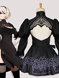 cheap -Inspired by NieR:Automata 2B Anime Cosplay Costumes Japanese Cosplay Suits Cravat / Coat / Dress For Men's / Women's / Gloves / Stockings / Hair Band / Eye Mask