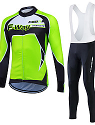 cheap -Fastcute Men's Long Sleeve Cycling Jersey with Bib Tights Winter Lycra Polyester Black Purple Yellow Plus Size Bike Jersey Tights Bib Tights Breathable 3D Pad Quick Dry Sweat-wicking Sports Sports