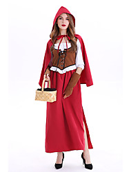 cheap -Little Red Riding Hood Cosplay Costume Masquerade Adults' Women's Cosplay Halloween Halloween Festival / Holiday Cotton / Polyester Blend Drak Red Women's Carnival Costumes