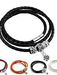 cheap -Leather Cuff Double Wide Bracelet Rope Bangles Brown for Men Fashion Man Bracelet Unisex Jewelry Gift