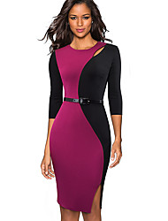 cheap -Women's Wine Gray Dress Basic Street chic Bodycon Sheath Solid Colored Cut Out Patchwork M L / Cotton