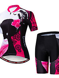 cheap -EVERVOLVE Floral Botanical Women's Short Sleeve Cycling Jersey with Shorts - Pink / Black Bike Clothing Suit Breathable Moisture Wicking Quick Dry Sports Cotton Polyster Lycra Mountain Bike MTB Road