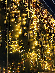 cheap -2.5m Twinkle Star 12 Stars 138 LED Curtain String Lights Window Curtain Lights with 8 Flashing Modes Decoration for Christmas Wedding Party Home Decorations 220-240V