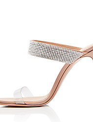 cheap -Women's Sandals Stiletto Heel Open Toe Sparkling Glitter Faux Leather Sweet / British Fall / Spring & Summer Black / Nude