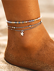 cheap -Women's Multicolor Ankle Bracelet Beads Star Vintage Bohemian Fashion Silver Plated Anklet Jewelry Silver For Party Gift Daily Holiday Traveling / 3pcs