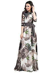 cheap -Women's Maxi Blue Gray Dress Elegant Vintage Sheath Swing Floral Lace up Print S M