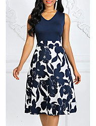 cheap -Women's Plus Size Going out 1950s Vintage A Line Dress - Polka Dot Floral Print Print V Neck Summer Cotton Royal Blue White Navy Blue S M L XL