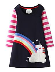 cheap -Kids Girls' Active Geometric Print Long Sleeve Knee-length Dress Navy Blue