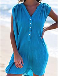 cheap -Women's Basic Chiffon Shirt Dress - Solid Colored White Yellow Blue S M L XL