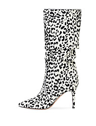 cheap -Women's Boots Knee High Boots Stiletto Heel Pointed Toe Suede Knee High Boots British / Minimalism Spring &  Fall / Winter Brown / White / Pink / Party & Evening / Leopard