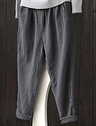 cheap -Women's Basic Harem Pants - Solid Colored Black Navy Blue Gray XL XXL XXXL