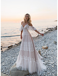 cheap -A-Line V Neck Sweep / Brush Train Lace / Tulle Short Sleeve Beautiful Back Made-To-Measure Wedding Dresses with Lace 2020